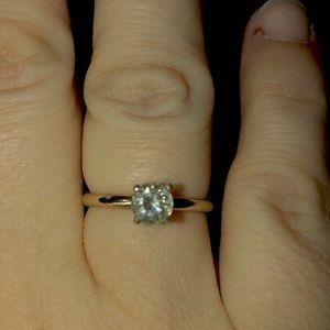 .58 carat pure colorless moissanite diamond ring